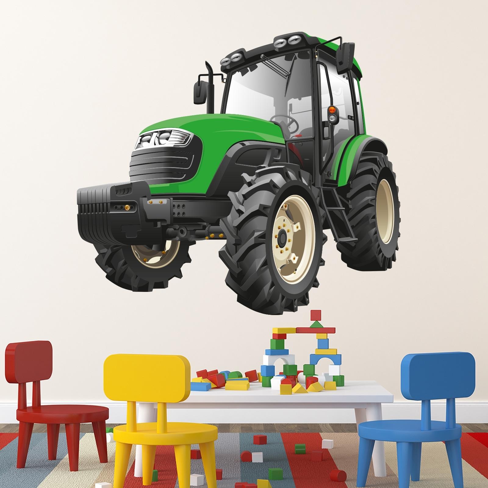Das Bild Wird Geladen Wallprint Wandtattoo Traktor  115x131cm Gruen Aufkleber Kinder Kinderzimmer