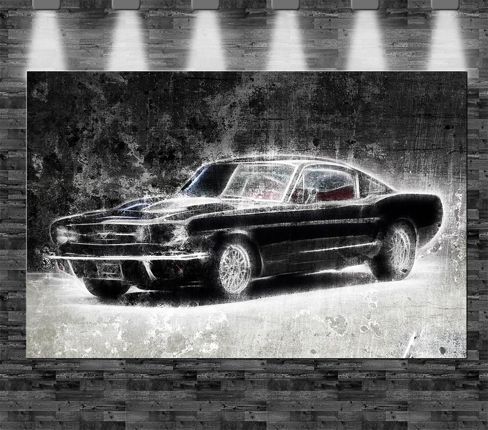 Xxl Ford Mustang 1965 Auf Leinwand 110x70cm Limitiert Loft Design