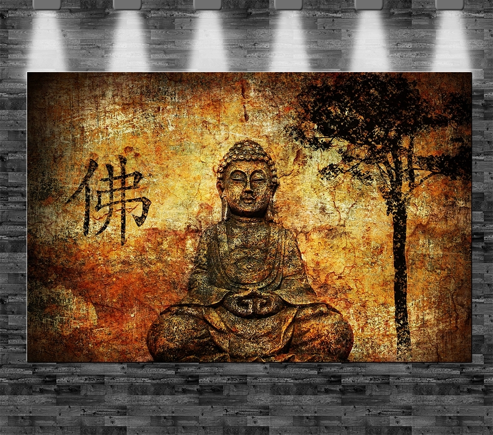 xxl buddha auf leinwand 110x70cm limitiert loft design bild buddhismus indien ebay. Black Bedroom Furniture Sets. Home Design Ideas