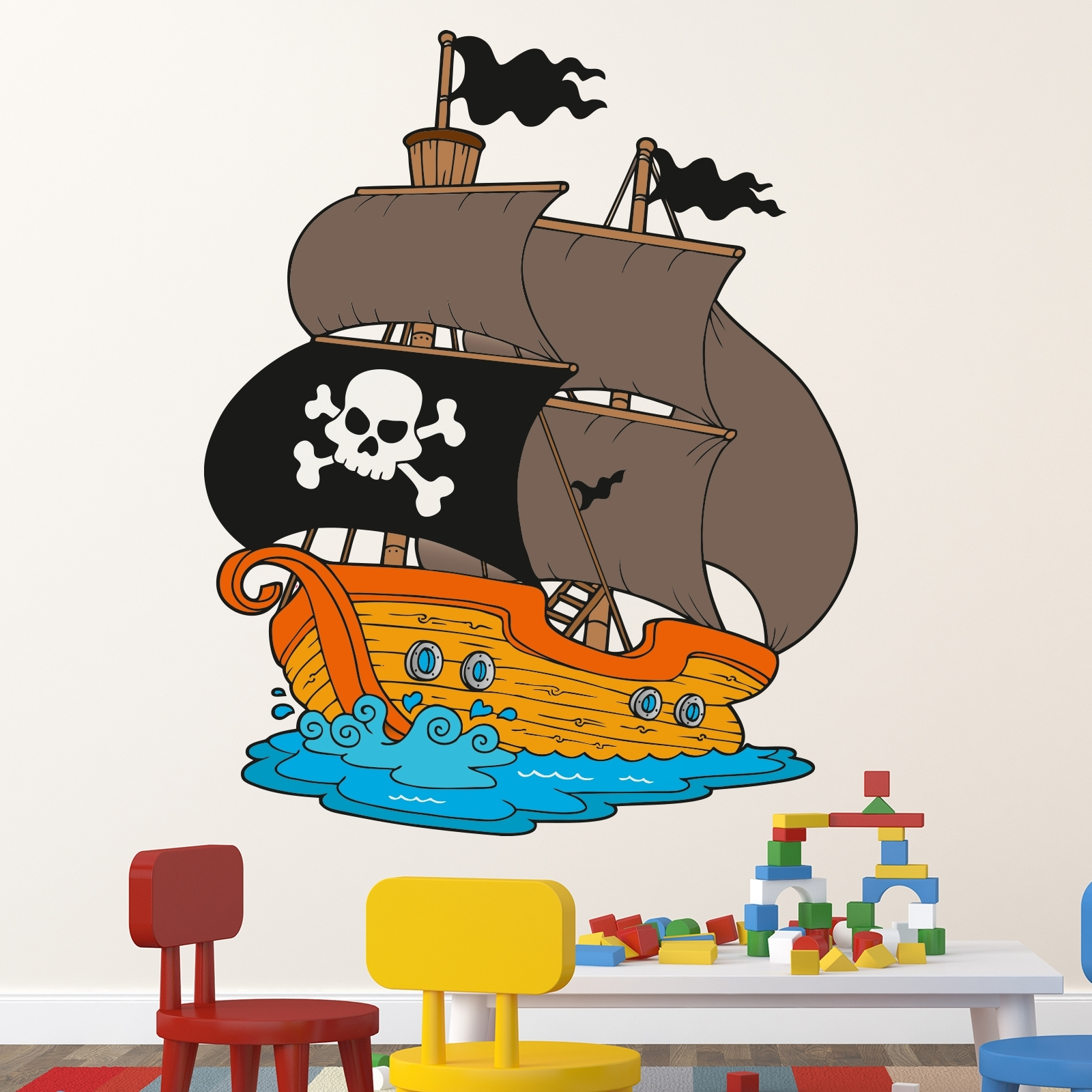 Wallprint wandtattoo piratenschiff 49cmx60cm comic for Wandtattoo piratenschiff